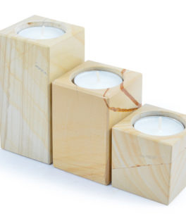 ON418 – 3 Piece Woodstone Candle Holders