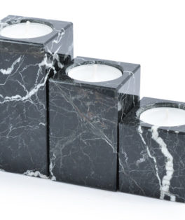ON420 – 3 Piece Black Marble Candle Holders