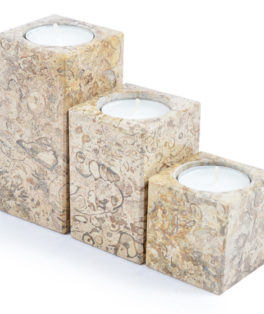 ON421 – 3 Piece Fossilstone Candle Holders